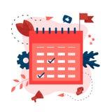 Vlakke ontwerp bedrijfskalender met gebeurtenissen, herinneringen en planning vector illustratie