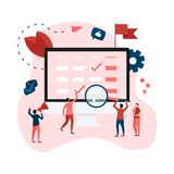 Vlakke ontwerp bedrijfskalender op mobiele telefoon met gebeurtenissen, herinneringen en planning vector illustratie