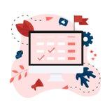 Vlakke ontwerp bedrijfskalender op mobiele telefoon met gebeurtenissen, herinneringen en planning royalty-vrije illustratie