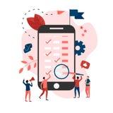 Vlakke ontwerp bedrijfskalender op mobiele telefoon met gebeurtenissen, herinneringen en planning stock illustratie