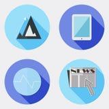 Vlakke ontwerp bedrijfspictogrammen met lange schaduw 4 Royalty-vrije Stock Foto's