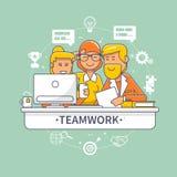 Vlakke ontwerp collectieve commerciële teammensen die en zich achter bureau bevinden zitten Bedrijfsgroepswerkvergadering en uitw Stock Afbeelding
