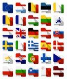 Vlakke Ontwerp Europese Unie Golvende Vlaggen Royalty-vrije Stock Foto's