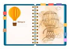 Vlakke ontwerp geopende blocnote Sketchbook, agendamodel Stock Afbeelding
