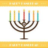 Vlakke ontwerp hanukkah vectorkaart met menorah en kleurrijke kaarsen Stock Foto's