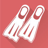 Vlakke ontwerp het duiken vinnen Royalty-vrije Stock Afbeeldingen