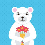 Vlakke ontwerp ijsbeer met boeket van bloemenillustratie De kleurrijke groetkaart met leuk wit draagt Stock Afbeeldingen