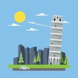 Vlakke ontwerp leunende toren van Pisa Royalty-vrije Stock Fotografie