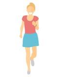 Vlakke ontwerp lopende vrouw Meisjeslooppas, vooraanzicht Vectorillustratie voor gezonde levensstijl, gewichtsverlies, gezondheid Stock Foto's