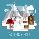 Vlakke ontwerp lpanoramic andscape van het ski?en toevlucht Stock Fotografie