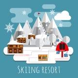 Vlakke ontwerp lpanoramic andscape van het ski?en toevlucht Stock Afbeeldingen