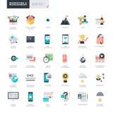 Vlakke ontwerp marketing en beheer pictogrammen voor grafische en Webontwerpers Stock Afbeeldingen