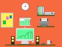 Vlakke ontwerp modieuze illustratie die van manager met computer in moderne bureauwerkruimte werken Stock Afbeeldingen
