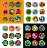 Vlakke ontwerp ronde etiketten, optieinfographics Stock Foto's