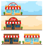 Vlakke ontwerp van de voorgevel het buitenwinkel met teken Stock Afbeeldingen