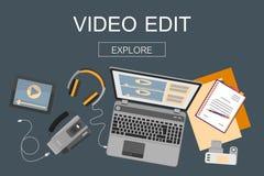 Vlakke ontwerpbanner voor videouitgave royalty-vrije illustratie