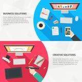 Vlakke Ontwerpbanners voor zaken en creativiteit Royalty-vrije Stock Afbeelding