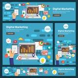 Vlakke ontwerpconcept digitale marketing De vector illustreert royalty-vrije illustratie
