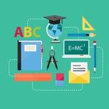 Vlakke Ontwerpconcept Onderwijs en e-Lerende Pictogrammenvectoren Stock Fotografie