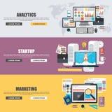 Vlakke ontwerpconcepten voor bedrijfs marketing, analytics, groepswerk, analyse, strategie en opstarten stock illustratie