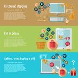 Vlakke ontwerpconcepten voor e-winkelt het elektronische winkelen, daling van prijzen, actie wanneer het kopen van een gift vector illustratie