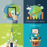 Vlakke ontwerpconcepten voor financiën, economie royalty-vrije illustratie