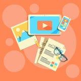 Vlakke ontwerpconcepten voor Inhoud Marketing Stock Afbeelding