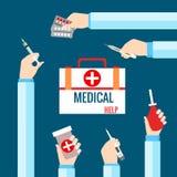 Vlakke ontwerpconcepten voor medische behandeling Royalty-vrije Stock Foto's