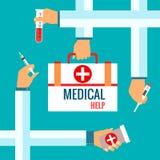 Vlakke ontwerpconcepten voor medische behandeling Royalty-vrije Stock Fotografie