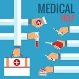 Vlakke ontwerpconcepten voor medische behandeling Stock Afbeelding