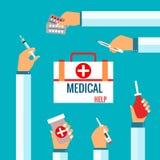 Vlakke ontwerpconcepten voor medische behandeling Stock Foto