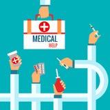 Vlakke ontwerpconcepten voor medische behandeling Royalty-vrije Stock Afbeeldingen