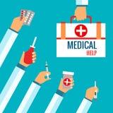 Vlakke ontwerpconcepten voor medische behandeling Stock Fotografie