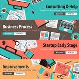 Vlakke ontwerpconcepten voor mobiele marketing en geld investeringen Stock Afbeelding