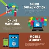 Vlakke ontwerpconcepten voor online mededeling, e-mail marketing, Stock Foto's