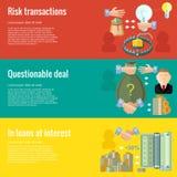 Vlakke ontwerpconcepten voor zaken twijfelachtige overeenkomst; in leningen bij rente; risicotransacties Royalty-vrije Stock Fotografie