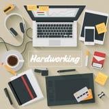 Vlakke Ontwerpillustratie: Hardworking Stock Foto