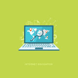 Vlakke ontwerpillustratie met pictogrammen Internet-navigatie Stock Fotografie