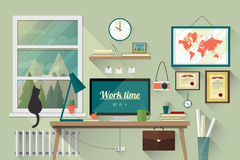 Vlakke ontwerpillustratie van de moderne werkplaats Royalty-vrije Stock Afbeelding
