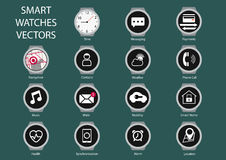 Vlakke ontwerpillustratie van het slimme pictogram van de horlogewijzerplaat Royalty-vrije Stock Afbeelding