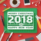 In Vlakke Ontwerpillustratie: Vrolijke Kerstmis en Gelukkige het Nieuwjaarwerkplaats van 2018 Stock Foto
