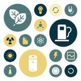 Vlakke ontwerppictogrammen voor energie en ecologie Stock Foto