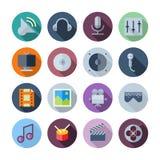 Vlakke Ontwerppictogrammen voor Geluid en Muziek Royalty-vrije Stock Afbeeldingen
