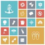 Vlakke ontwerppictogrammen voor reis en vervoer Royalty-vrije Stock Afbeelding
