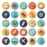 Vlakke ontwerppictogrammen voor reis en vervoer Stock Afbeeldingen