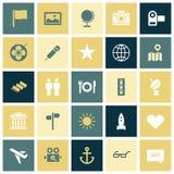 Vlakke ontwerppictogrammen voor reis en vrije tijd Royalty-vrije Stock Afbeeldingen