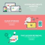 Vlakke ontwerppictogrammen voor Web Stock Foto