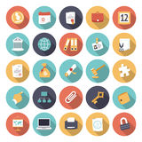 Vlakke ontwerppictogrammen voor zaken en financiën stock illustratie