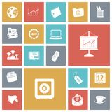 Vlakke ontwerppictogrammen voor zaken en financiën Stock Afbeelding