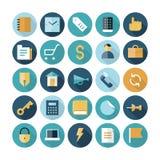 Vlakke ontwerppictogrammen voor zaken en financiën Royalty-vrije Stock Afbeeldingen
